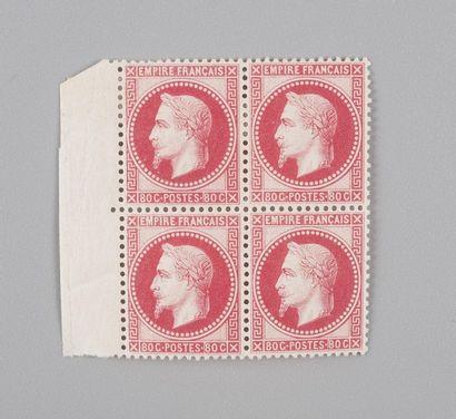 France, n°32 80c Rose Empire Lauré - Bloc...