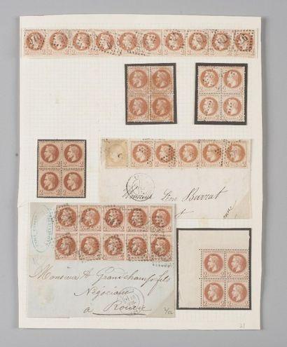 France, n° 26 2c Empire Lauré - Lot de timbres,...