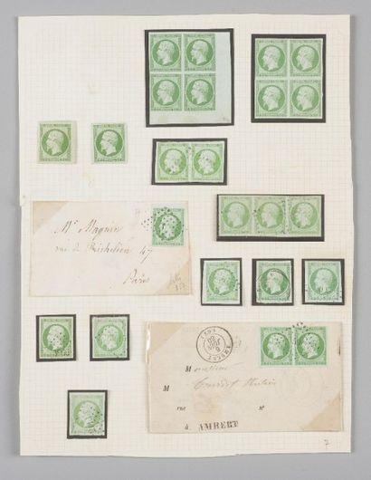France, n°12 5c Vert Empire - Lot de timbres...