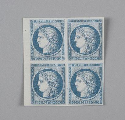 France, n°8b 20 c Bleu sur azuré Cérès non-émis...