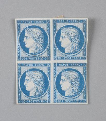France, n° 8f 20c Bleu Cérès non-émis - Réimpression...