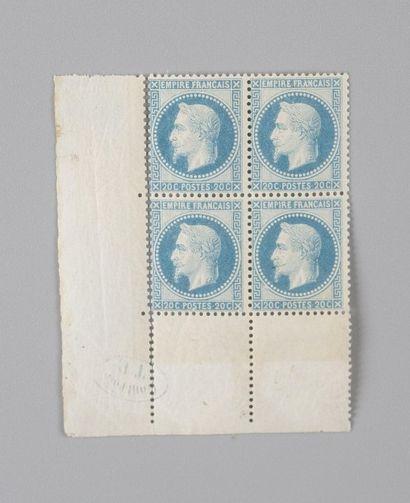 France, n° 29A 20c Bleu Empire Lauré - Bloc...