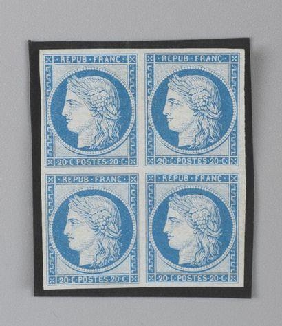 France, n°37 20c Bleu Siège de Paris - Bloc...