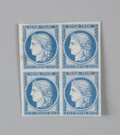 France, n° 60 25c Bleu Cérès - Bloc de quatre...