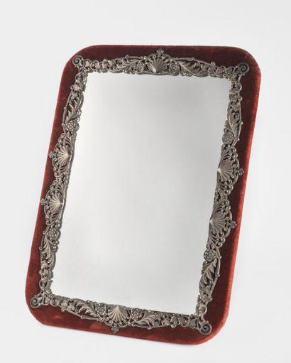 Miroir chevalet en bronze réargenté, à décor...