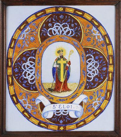 Saint Éloi Carreau en faïence émaillée.