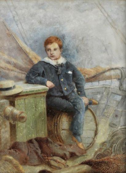 Plaque en opaline décorée d'un portrait d'enfant...