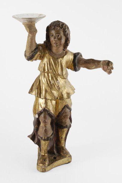 Ange porte-cierge en bois polychromé et doré. France, XVIIIe siècle. (Coupelles...