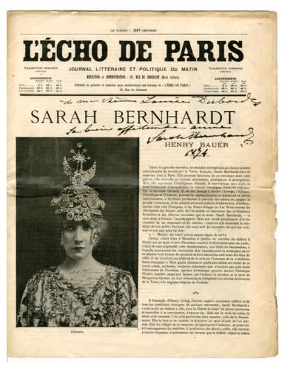 BERNHARDT Sarah (Rosine Bernard, dite) [Paris, 1844 - id., 1923], tragédienne française....