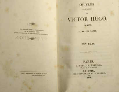 HUGO (Victor). Ruy Blas. Paris, Delloye, Leipzig, Brockhaus et Avenarius, 1838, in-8°,...