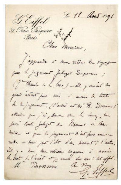 EIFFEL Gustave [Dijon, 1832 - Paris, 1923], ingénieur français. Lettre autographe...