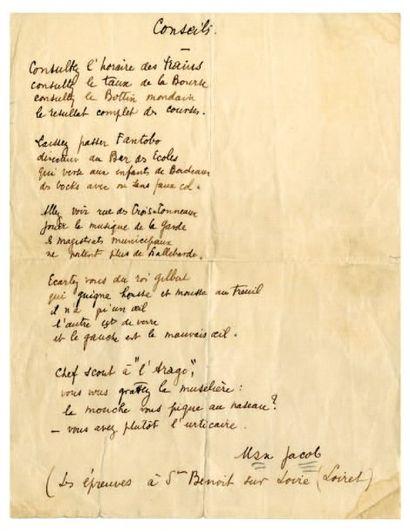 JACOB Max [Quimper, 1876 - Drancy, 1944], poète français Pièce autographe signée....