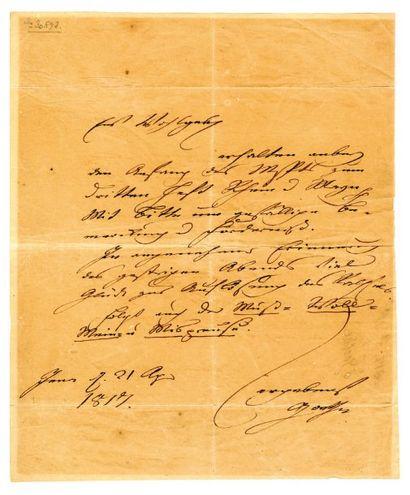 GOETHE Johann Wolfgang von [Francfortsur- le-Main, 1749 - Weimar, 1832], écrivain...
