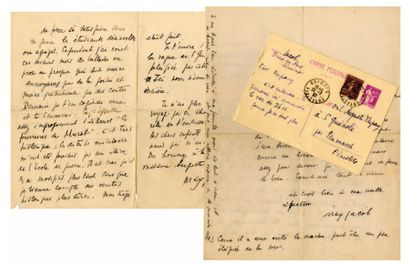 JACOB Max [Quimper, 1876 - Drancy, 1944], poète français. 2 lettres autographes signées...