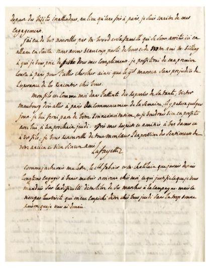 LA FAYETTE Marie-Joseph-Paul-Yves Roch Gilbert Motier, marquis de [Chavaniac, 1757...