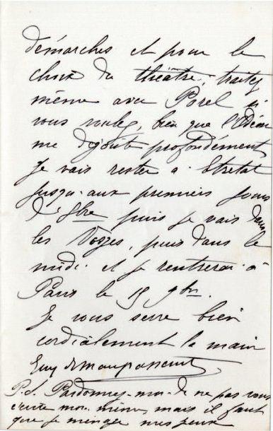 MAUPASSANT Guy de [Tourville-sur-Arques, 1850 - Paris, 1893], écrivain français....