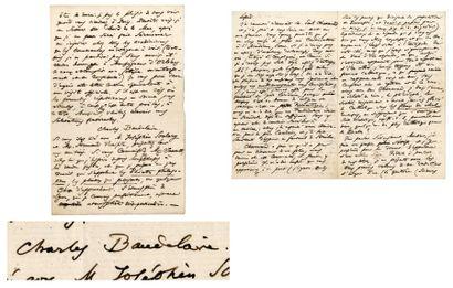 BAUDELAIRE Charles [Paris, 1821 - id., 1867], écrivain et poète français. Lettre...