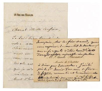 BERNARD Claude [Saint-Julien, 1813 - Paris, 1878], physiologiste français. Lettre...