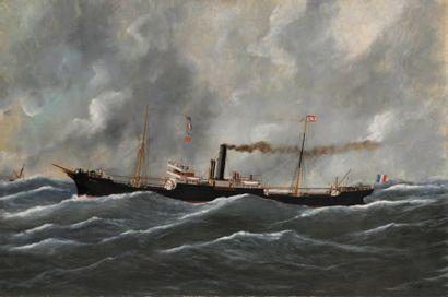Édouard ADAM Le RICEL de la Compagnie de navigation Mixte par mer formée Huile sur...