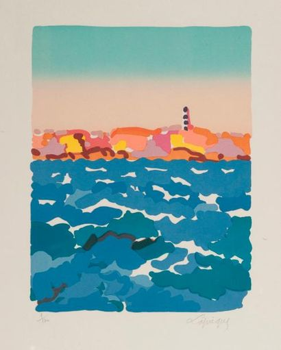 Charles LAPICQUES  Le phare  Lithographie...