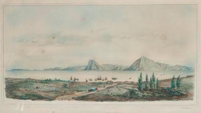 Vue de Patras  Lithographie en couleur  XIXème...