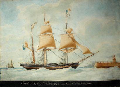 François Joseph Frédéric ROUX (1805- 1874) « L'Industrie » Aquarelle et gouache sur...