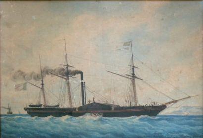 François Joseph Frédéric ROUX (1805- 1874) « Portrait de navire » Trois mats mixte...