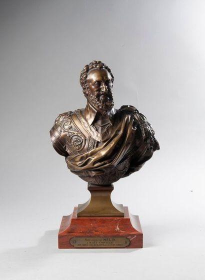 Henri IV. Buste en bronze représentant le...