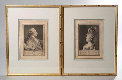 Paire de gravures représentant le roi Louis...
