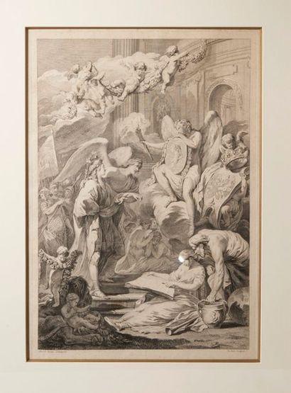 Gravure représentant une scène allégorique figurant Louis, Dauphin de France (1729-1765),...