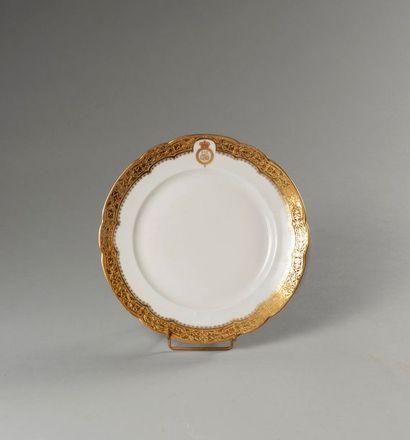 ÉGYPTE.  Assiette plate en porcelaine provenant...