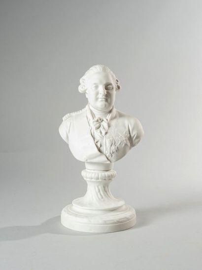 LOUIS XVI Buste en biscuit représentant le...