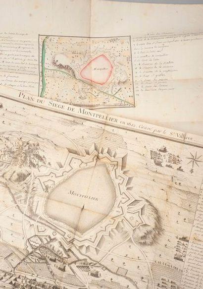 Plan manuscrit & aquarellé du siège de Montpellier...