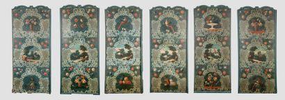 SUITE DE SIX GRANDES TOILES polychromes peintes,...