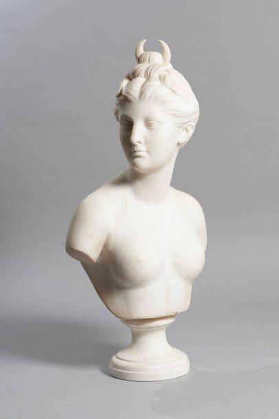 D'APRES JEAN-ANTOINE HOUDON  Buste en marbre...