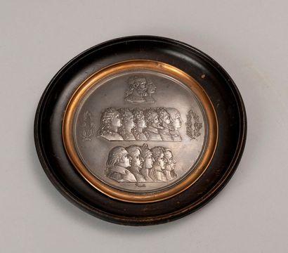 CAPETIENS.  Grande médaille en cuivre argenté...