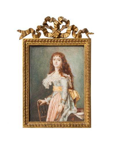 ECOLE FRANCAISE DE LA FIN DU XIXE SIECLE Portrait présumé de Manon Philipon dite...