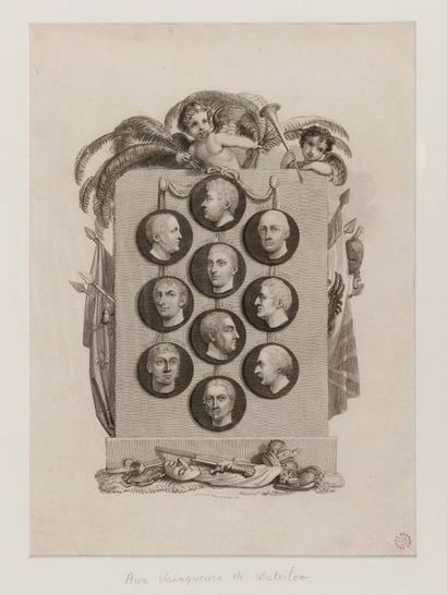 WATERLOO Lithographie représentant les vainqueurs de Waterloo dans des médaillons...