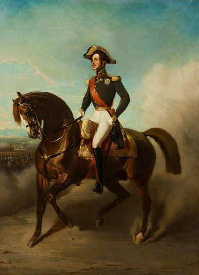 ECOLE FRANCAISE DU XIXEME SIECLE, SUIVEUR D'ALFRED DE DREUX  Portrait équestre du...
