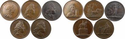 Louis XIV, lot de 5 médailles par Mauger