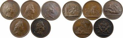 Louis XIV, lot II de 5 médailles par Mauger