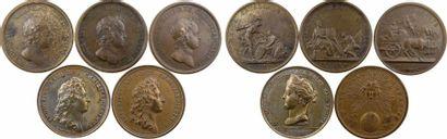 Louis XIV, lot III de 5 médailles par Mauger