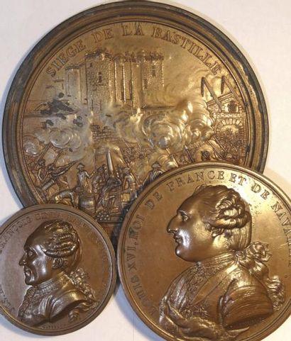 Louis XVI et la Révolution, lot de 3 médailles