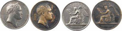 Premier Empire / Russie, lot de 2 médailles, séjour d'Alexandre Ier à Paris, par Andrieu, 1814 Paris
