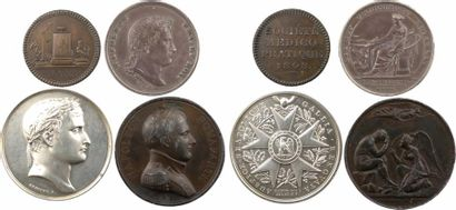 Premier Empire, lot de 4 médailles, société médico-pratique, notaires de Rouen, Légion d'Honneur, et