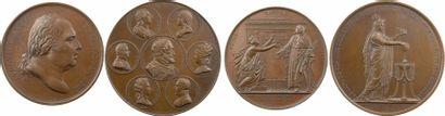 Louis XVIII, lot de 2 médailles, l'entrée du Roi à Paris et à la mémoire d'Henri IV et des victimes