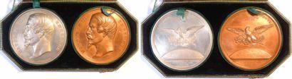 Second Empire, coffret des médailles en argent et en cuivre, proclamation (rétablissement) de l'Empi