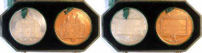 Second Empire, coffret des médailles en argent et en cuivre, commencement des travaux de la Cathédra