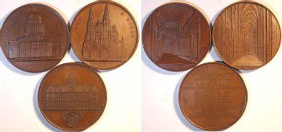 Second Empire, les cathédrales, par Wiener, lot de 2 médailles, joint le palais de l'Académie de Nan