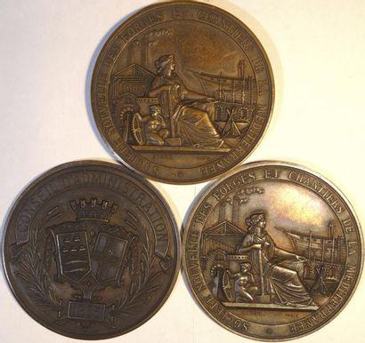 Second Empire, Forges et chantiers de la Méditerranée, Conseil d'Administration, lot de 3 (médaille